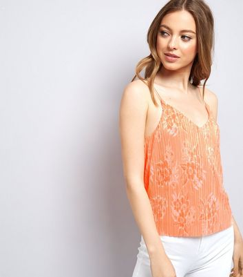 Orange Plisse Floral Cami Top