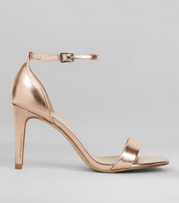 Wide Fit Rose Gold Metallic Heeled Sandals