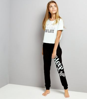 Teens Mint Green Slogan Print T-Shirt And Joggers Set