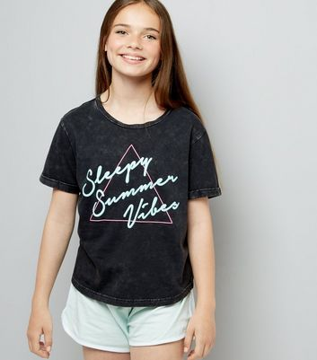 Teens Black Sleepy Summer Vibes Slogan Pyjama Set
