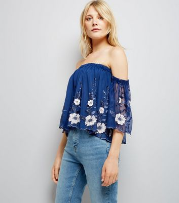 Blue Mesh Floral Embroidered Bardot Neck Top