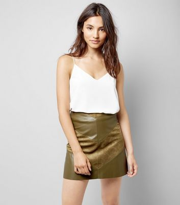 JDY Khaki Leather Look Chevron Mini Skirt