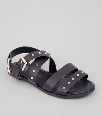 Teens Black Stud Gladiator Sandals