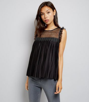 JDY Black Pleated Lace Panel Sleeveless Top