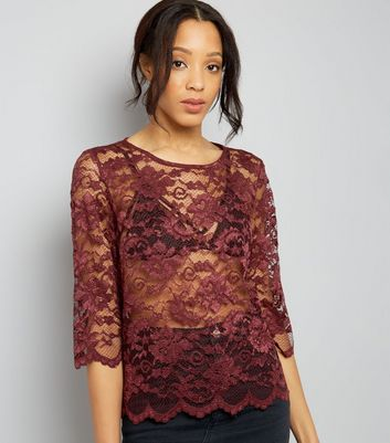 JDY Burgundy 3/4 Sleeve Lace Top