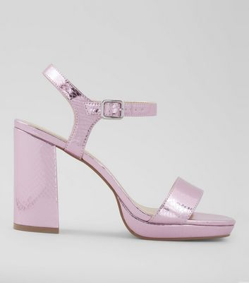 Wide Fit Pink Metallic Snakeskin Textured Block Heels
