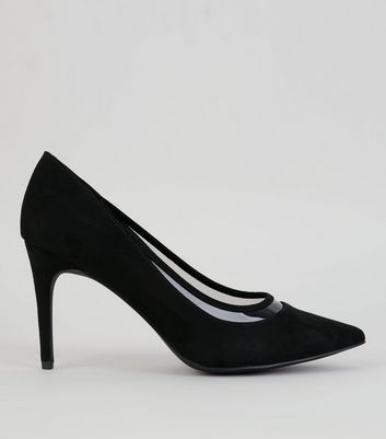 Black Suedette Clear Trim Court Shoes