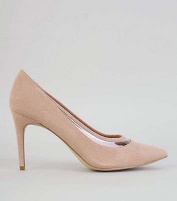 Nude Pink Suedette Transparent Trim Court Shoes