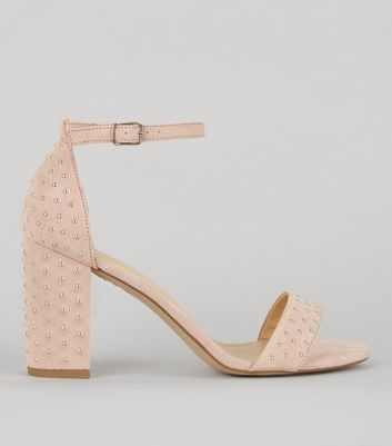 Shell Pink Stud Detail Heeled Sandals