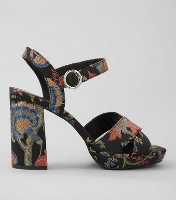 Black Brocade Platform Block Heels