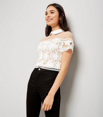 White Lace and Mesh Yoke Collar Top