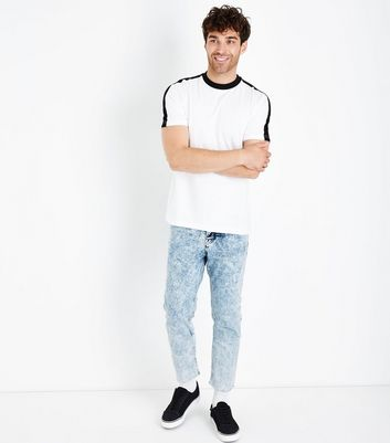 Pale Blue Acid Wash Raw Hem Jeans