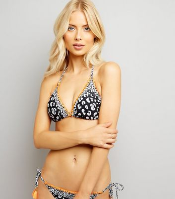 Black Animal Print Halter Neck Bikini Top