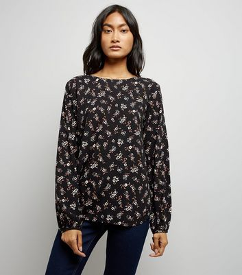 JDY Black Floral Print Cross Strap Blouse