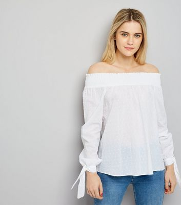 Tall White Spot Cotton Bardot Neck Top