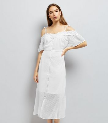White Spot Chiffon Lace Trim Cold Shoulder Dress