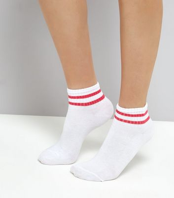 White Neon Stripe Ankle Socks