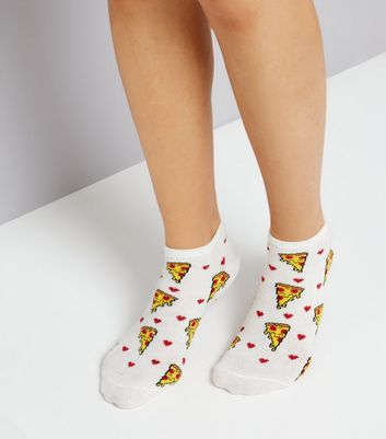 Cream Pizza Print Trainer Socks