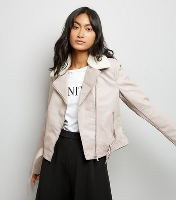 Pale Pink Faux Fur Collar Biker Jacket