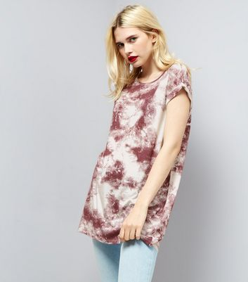 Red Tie Dye Longline T-Shirt