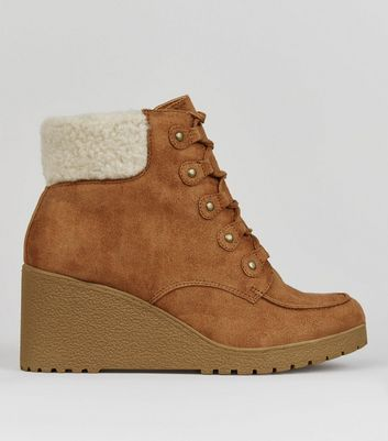 Teens Tan Suedette Shearling Trim Wedge Boots