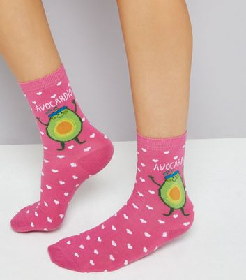 Pink Heat and Avocadio Print Socks