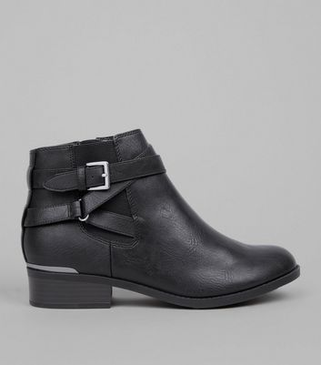Teens Black Buckle Strap Metal Trim Boots