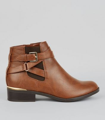 Teens Tan Metal Trim Ankle Boots