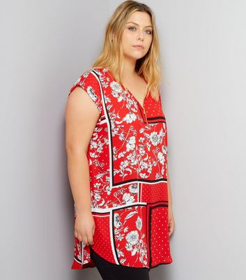 Curves Red Floral Print Zip Front Tunic