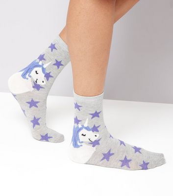 Grey Star and Unicorn Print Socks