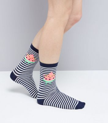 Blue Stripe Watermelon Print Socks