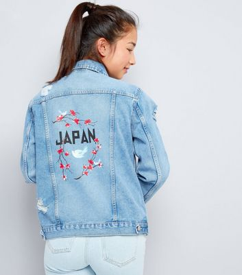 Teens Blue Japan Floral Embroidered Denim Jacket
