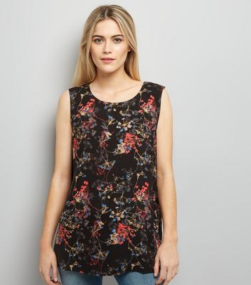 JDY Black Floral Print Cross Strap Sleeveless Top