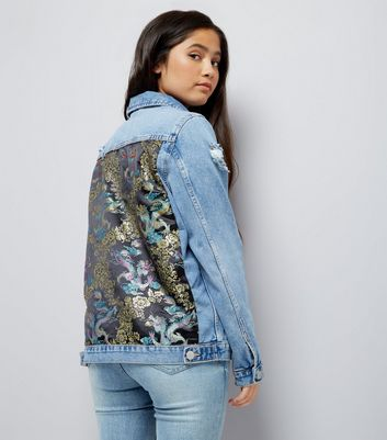 Teens Blue Denim Floral Satin Patch Jacket