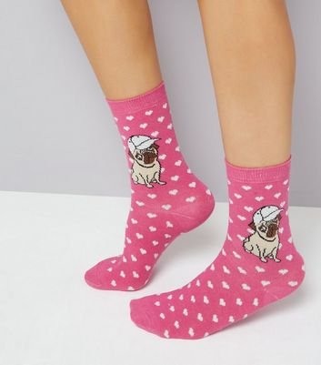 Pink Pug and Heart Print Socks