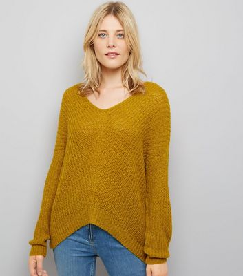 JDY Yellow V Neck Jumper