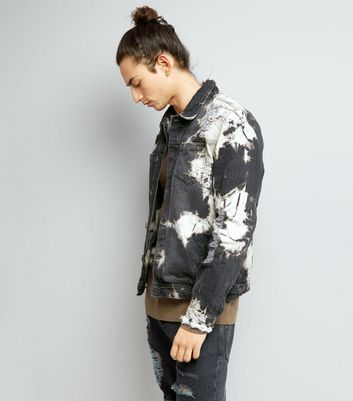 Black Ripped Tie Dye Denim Jacket
