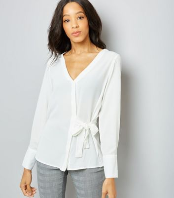 White V Neck Tie Side Shirt
