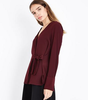 Burgundy V Neck Tie Side Shirt