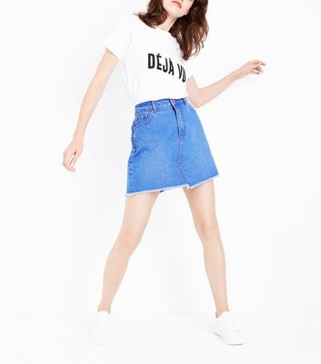 Blue Asymmetric Fray Hem Denim Skirt