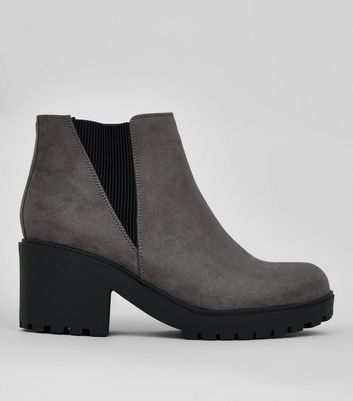 Teens Grey Suedette Chunky Chelsea Boots