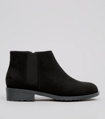 Teens Black Suedette Low Heel Chelsea Boots