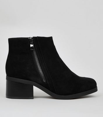 Teens Black Suedette Zip Side Boots