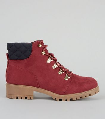 Teens Red Suedette Lace Up Worker Boots