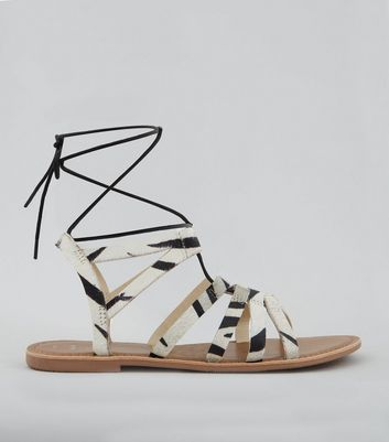 Wide Fit White Textured Leather Ghillie Sandals