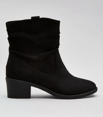 Wide Fit Black Suedette Slouch Boots