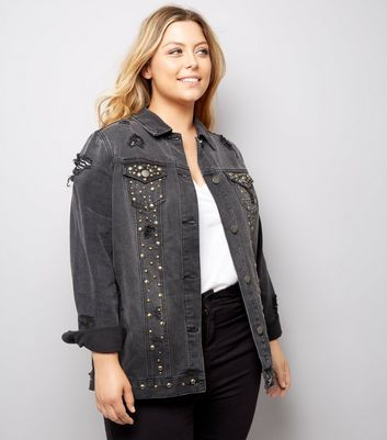 Curves Black Stud Embellished Denim Jacket