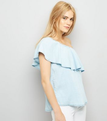 Pale Blue Frill Trim One Shoulder Denim Top