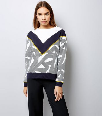 Noisy May Geometric Print Long Sleeve Sweater
