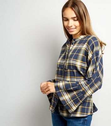 Noisy May Check Bell Sleeve Shirt